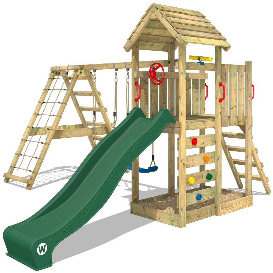 WICKEY Spielturm Klettergerüst RocketFlyer mit Schaukel & grüner Rutsche, Kletterturm mit Sandkasten, Leiter & Spiel-Zubehör Bild 1