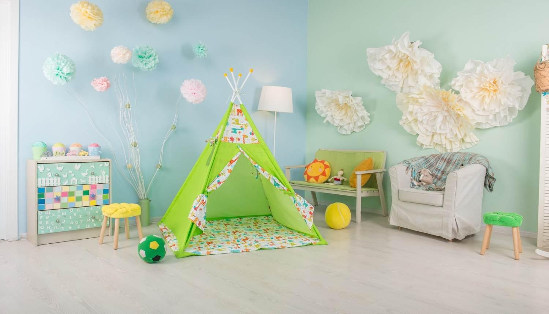 Polini Kids Tipi Spielzelt für Kinder Baumwolle mit Tasche grün Bild 1