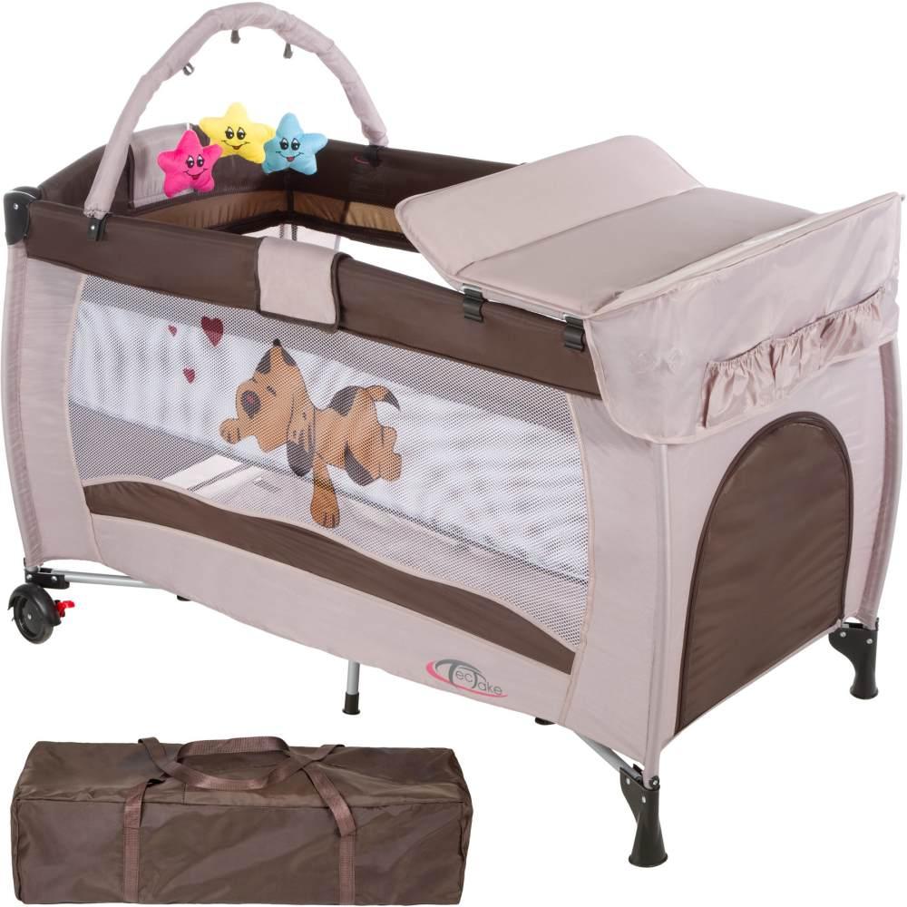 tectake 'Hund' Reisebett, Kaffeebraun, höhenverstellbar, mit Schlupf, inkl. Wickelauflage und Spielbogen Bild 1