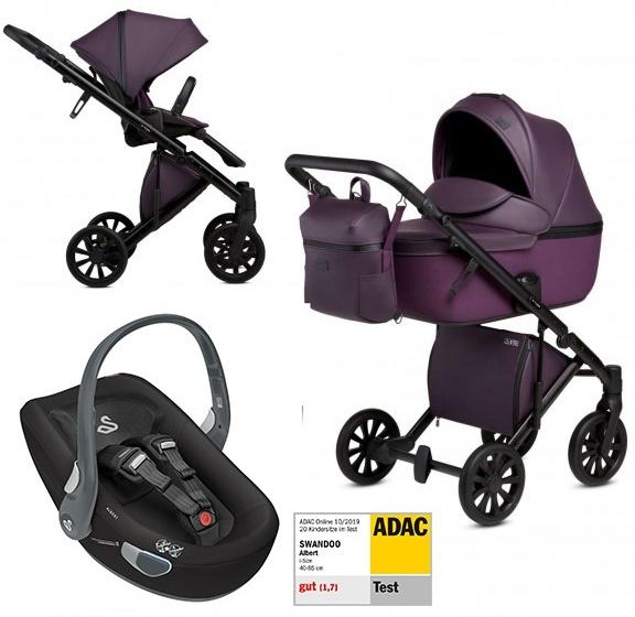 Anex 'e/type' Kombikinderwagen 4plusin1 2020 in Dark Plum mit Swandoo Babyschale Bild 1