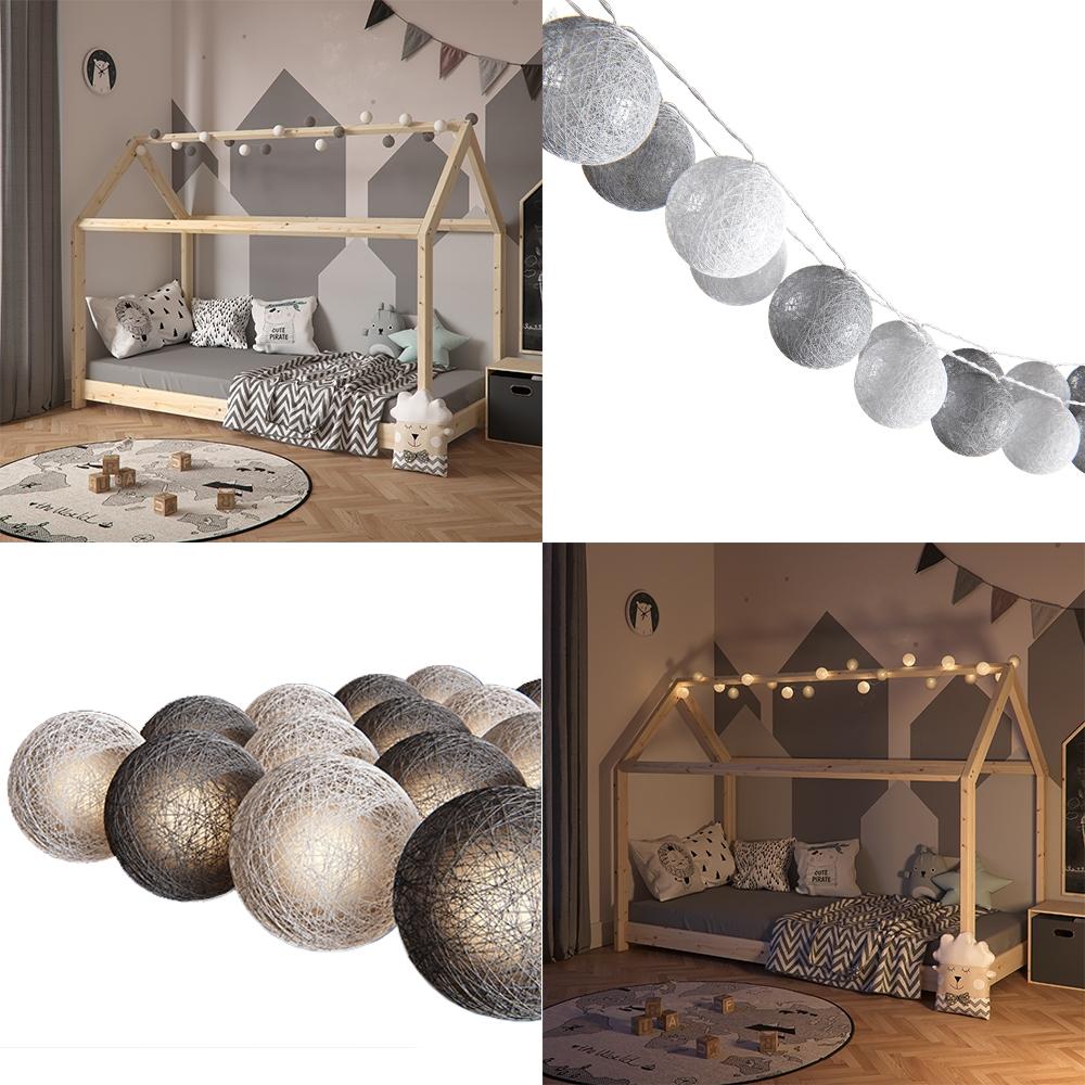 VitaliSpa 'Cotton Balls' Lichterkette Girlande weiß/grau 310 cm Bild 1