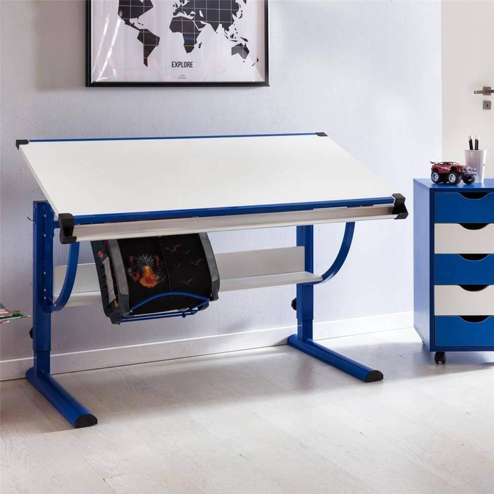 Wohnling 'MORITZ' Kinderschreibtisch Holz 120x60 cm blau/weiß Bild 1
