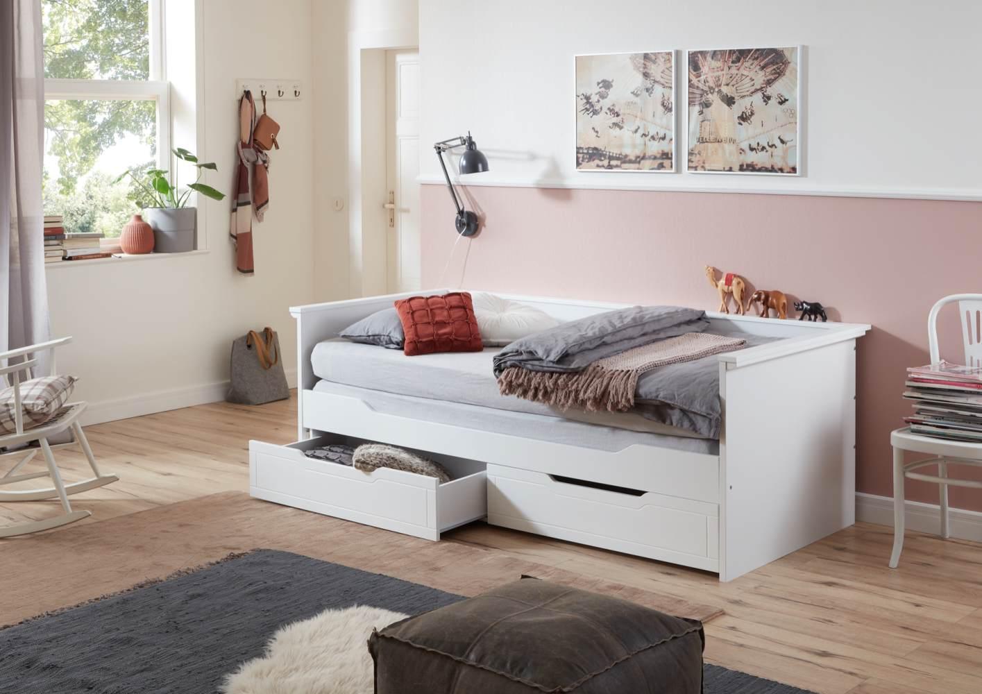 Relita 'Lina' Bett weiß, 90 x 200 cm, ausziehbar, mit zwei Schubladen Bild 1