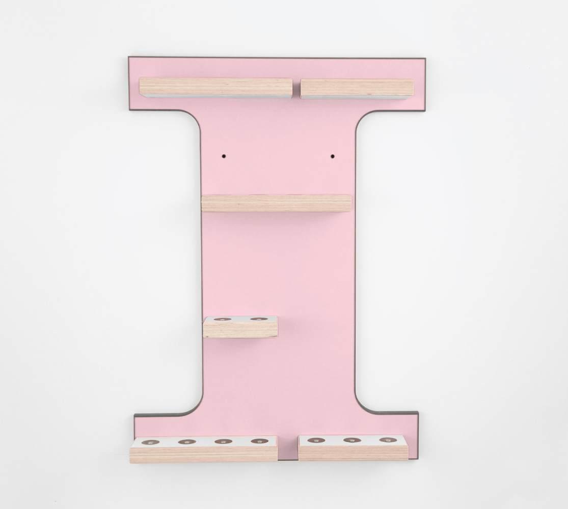 Schreinerei Linden 'Buchstabe I' Tonie Regal ohne Musikboxhalter, rosa Bild 1