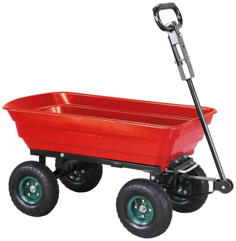 Miweba Bollerwagen Dumper mit Kippfunktion Handkarre Schubwagen Transport 300KG (Rot) Bild 1