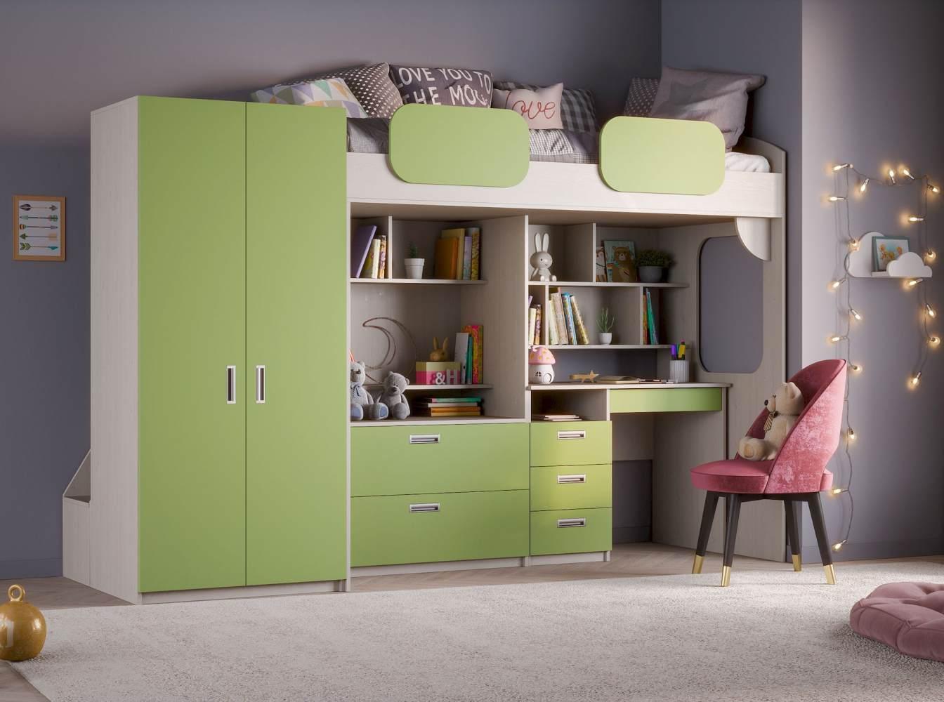 Hochbett 'Geko XL' grün Bild 1