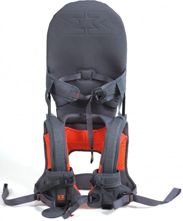 MINIMEIS G4 - Weltweit 1. Baby Schultertrage mit Rückenunterstützung - Faltbares Kinder & Baby Tragesystem für höchsten Komfort & Spaß unterwegs - [6 Monate - 5 Jahre & bis zu 18kg] (Grau/Orange) Bild 1
