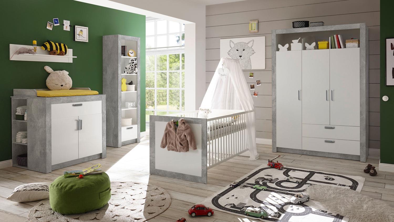 Bega 'TIMO' 5-tlg. Babyzimmer-Set, beton/weiß, aus Bett 70x140 cm, Kleiderschrank, Wickelkommode inkl. 2 Unterstellregale, Standregal, Wandregal Bild 1