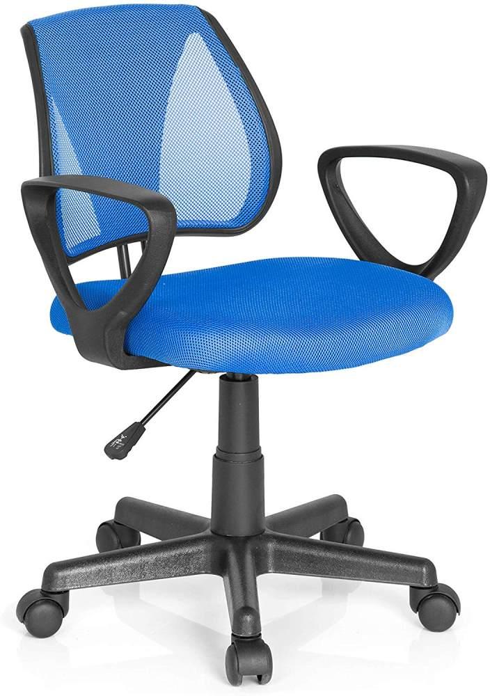 hjh OFFICE 725100 Kinder- und Jugenddrehstuhl KIDDY CD Netzstoff Blau höhenverstellbarer Schreibtischstuhl mit Armlehnen Bild 1
