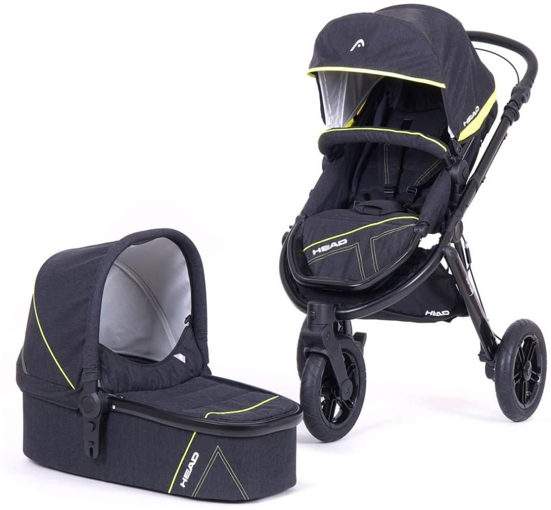 Knorr Baby Kinderwagen 2in1 'HEAD SPORT3' 2020 in Darkgrey-Yellow, inkl. Babywanne und Sportsitz Bild 1
