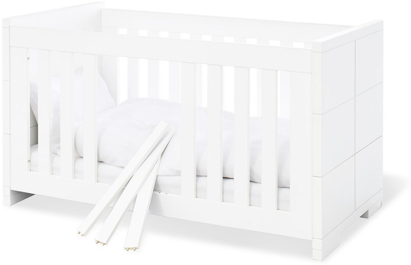 Pinolino 'Polar' Kombi-Kinderbett weiß, 70 x 140 cm, 3 Schlupfsprossen, höhenverstellbar, inkl. Umbauseiten Bild 1