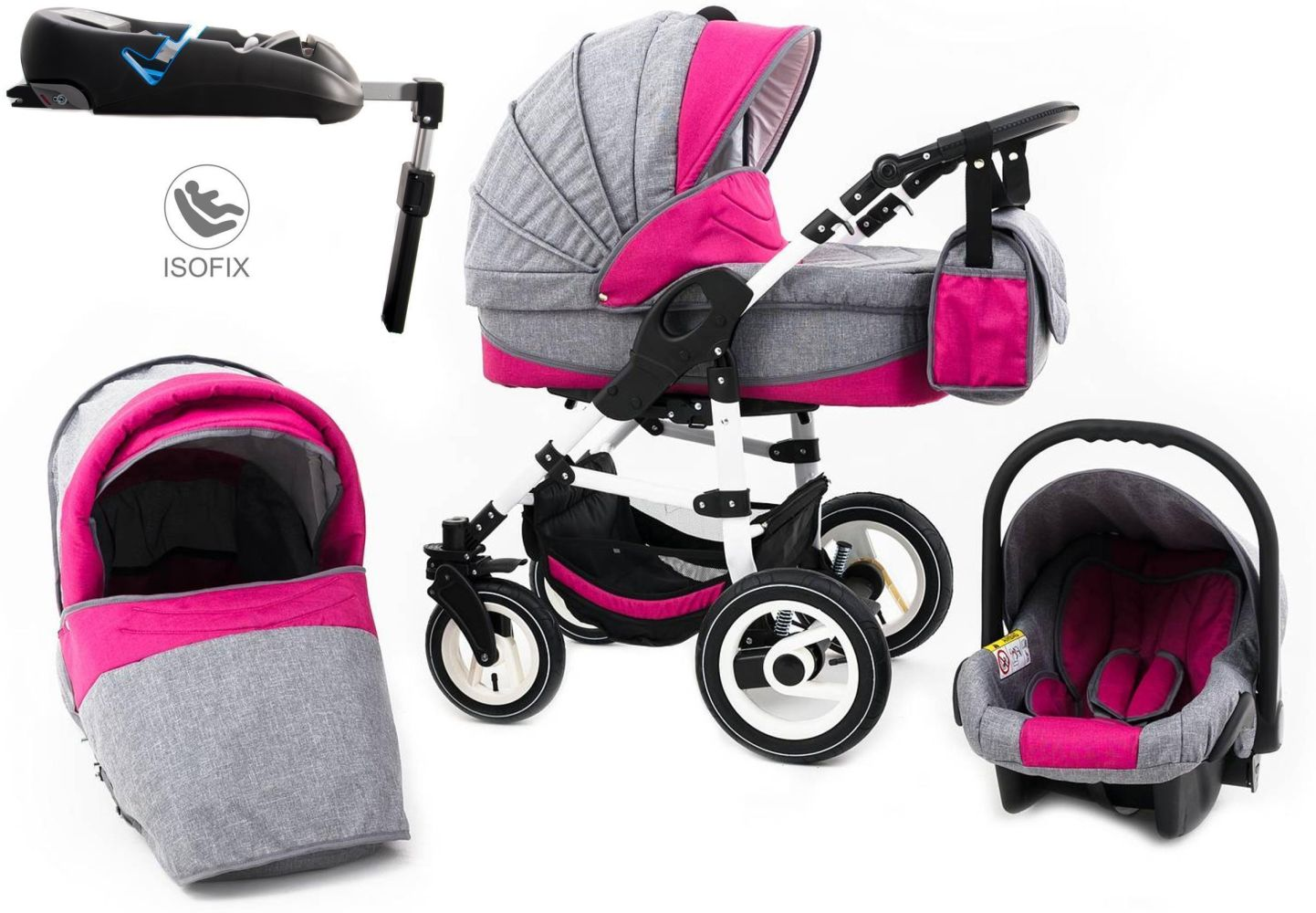 Tabbi ECO LN | 4 in 1 Kombi Kinderwagen | Hartgummireifen | Farbe: Pink Bild 1
