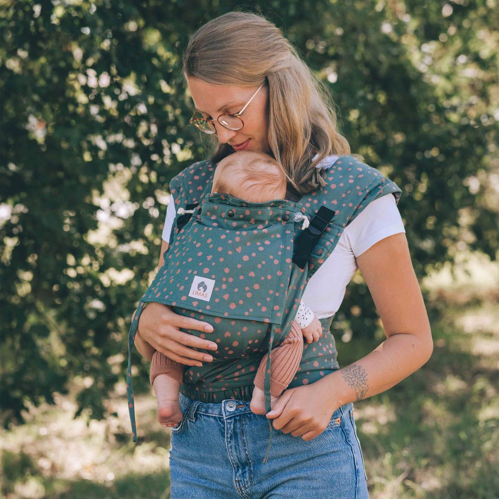 LIMAS Plus Babytrage Halfbuckle | 56 – 104 cm | Bauchtrage & Rückentrage & Hüfttrage | ab Geburt bis Kleinkindalter | Baby Carrier | Hope Bild 1
