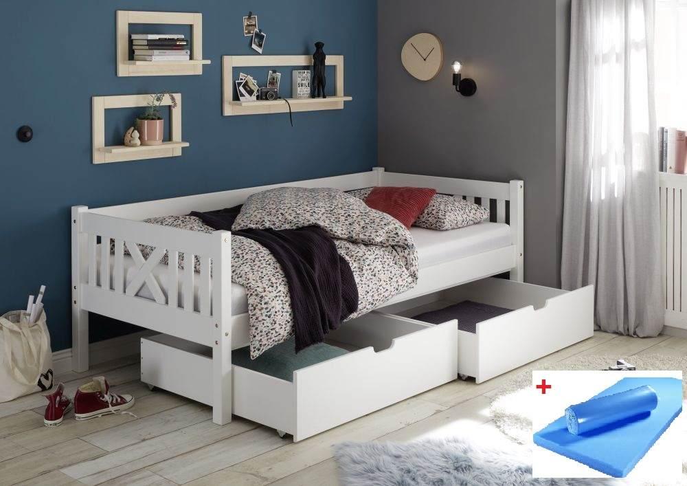 Bega 'Trevi' Kinderbett 90x200 cm, weiß, Kiefer massiv, inkl. 2 Bettkästen und Matratze (blau) Bild 1