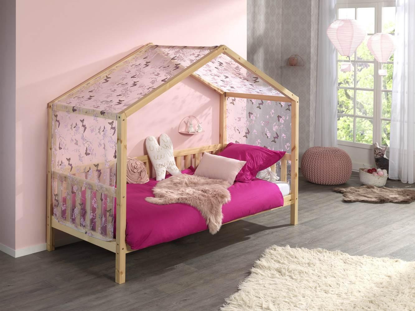 Vipack 'Dallas 1' Hausbett mit seitlicher Umrandung 90 x 200 cm natur, und Textilhimmel Bild 1