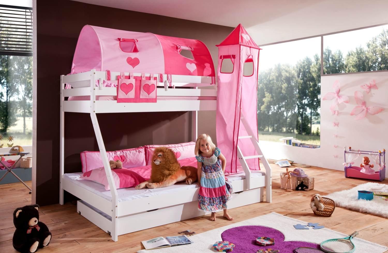 Relita 'Mike' Etagenbett weiß, inkl. Bettschublade und Textilset 2-er Tunnel, Turm und Tasche 'pink/herz' Bild 1