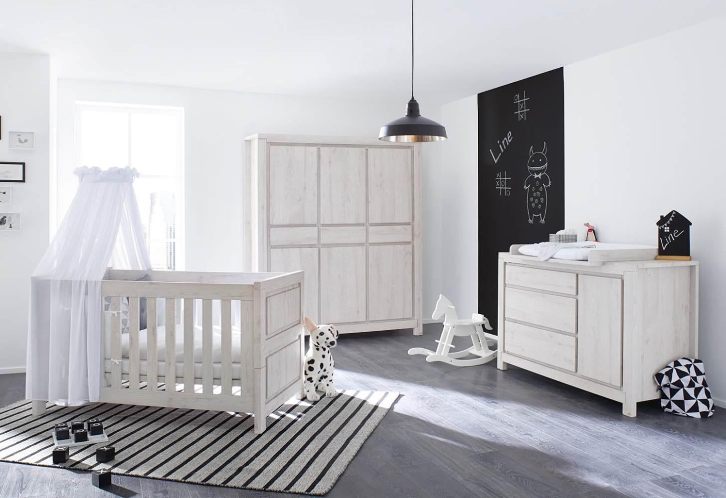 Pinolino 'Line' 3-tlg. Babyzimmer-Set grau, breit, 3-türig Bild 1