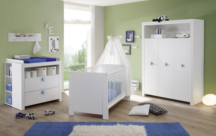 Trendteam 'Olivia' 4-tlg. Babyzimmer-Set, weiß/blau, aus Bett 70x140 cm, Kleiderschrank, Wickelkommode mit Unterstellregal, Wandboard Bild 1