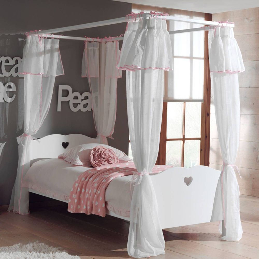 Himmelbett ANNECY-12, MDF weiß lackiert, Himmelbett und Textil-Vorhang, 90 x 200 cm Bild 1