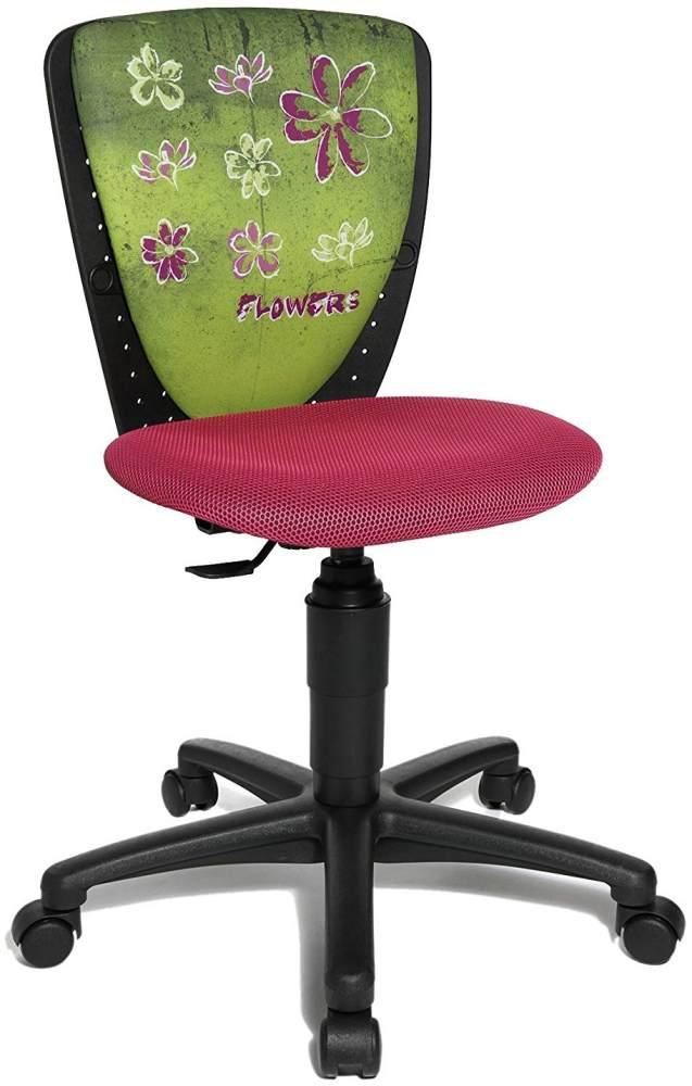 Topstar Nic 70570JD4 Blumen Kinderschreibtischstuhl, Drehstuhl, schwarz/rosa Bild 1