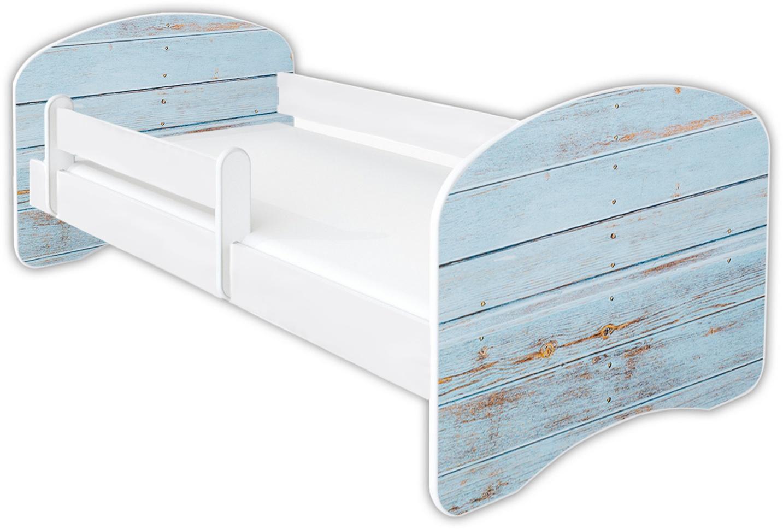 Clamaro 'Schlummerland Dekor' Kinderbett 80x160 cm, Design 12, inkl. Lattenrost, Matratze und Rausfallschutz (ohne Schublade) Bild 1