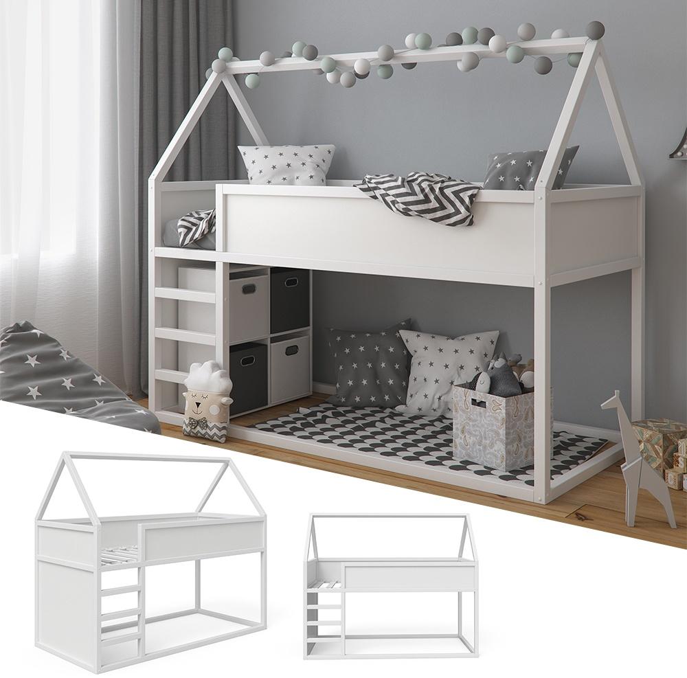 VitaliSpa 'Pinocchio' Haus-Hochbett, Weiß, inkl. Lattenrost, 90x200 cm, Erle massiv Bild 1