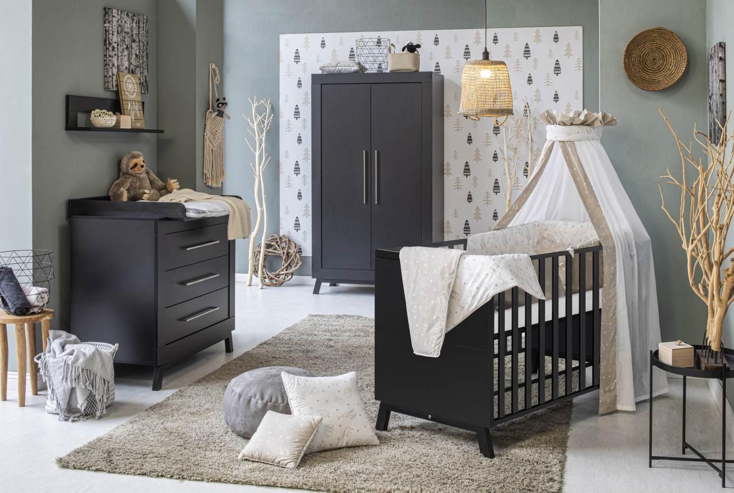 Schardt 'Miami Black' 3-tlg. Babyzimmer-Set, schwarz, 2-türiger Schrank Bild 1