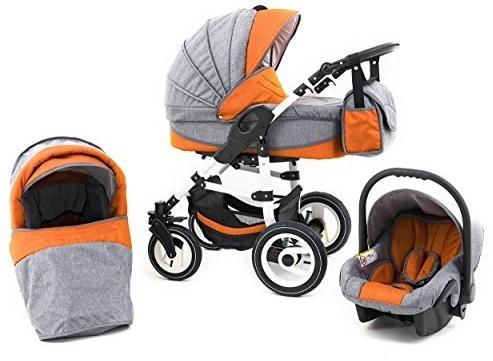 Tabbi ECO LN | 3 in 1 Kombi Kinderwagen | Hartgummireifen | Farbe: Orange Bild 1