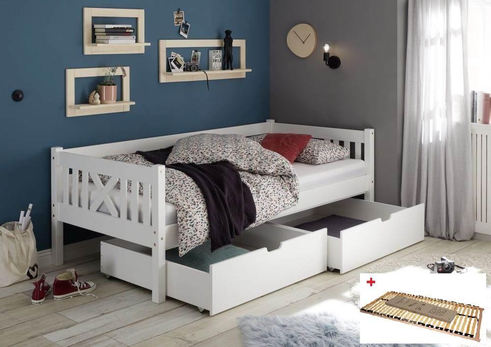 Bega 'Trevi' Kinderbett 90x200 cm, weiß, Kiefer massiv, inkl. 2 Bettkästen und Lattenrost Bild 1