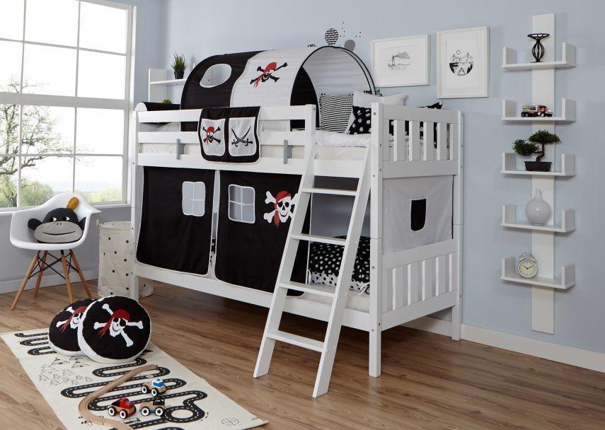 Ticaa 'Erni' Etagenbett Vertikal Buche Weiß inkl. Vorhang Pirat Schwarz-Weiß Bild 1