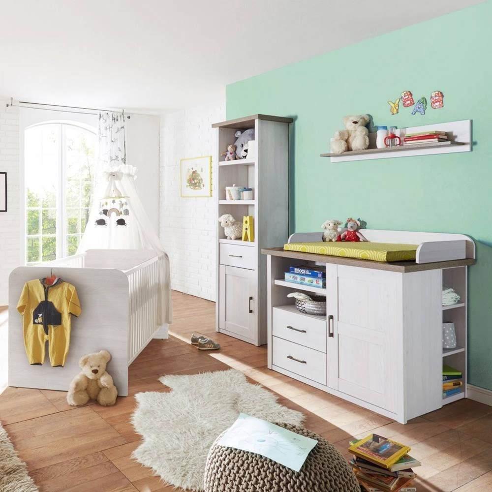 Babymöbel Set Landhausstil LUND-78 Pinie weiß Nb. /Trüffel Eiche Nb. Bild 1