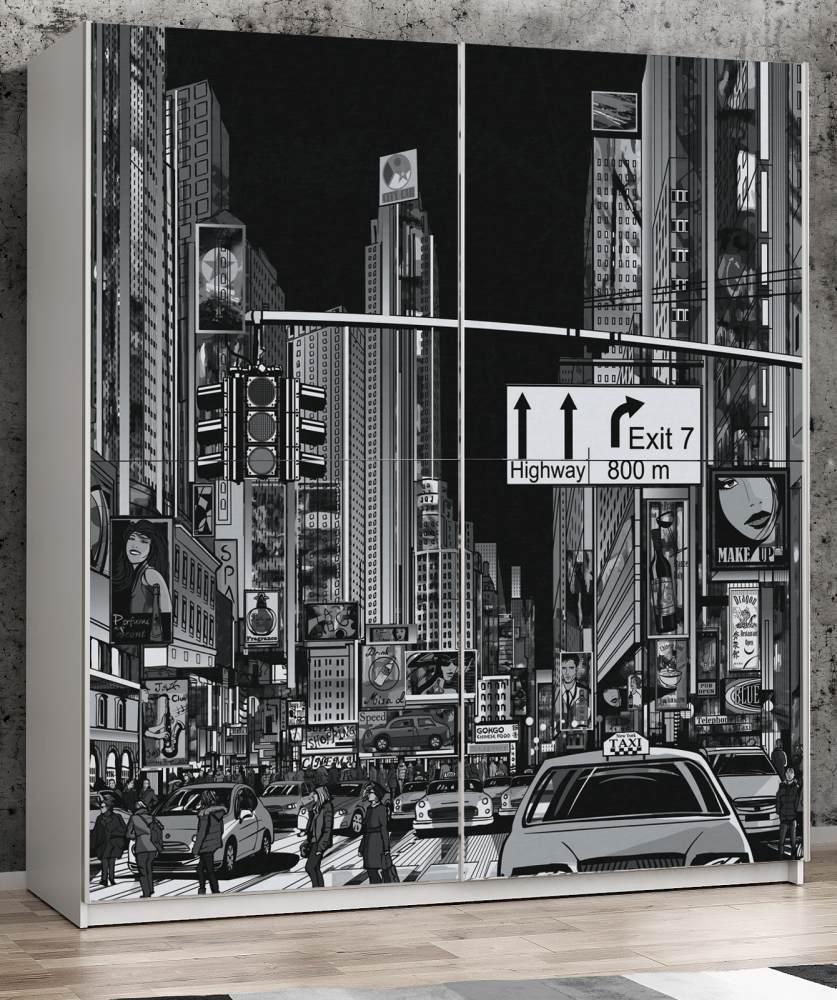 """FORTE 'Plakato' Schwebetürenschrank weiß mit Motivdruck New York"""" 170 x 190 cm"""" Bild 1"""