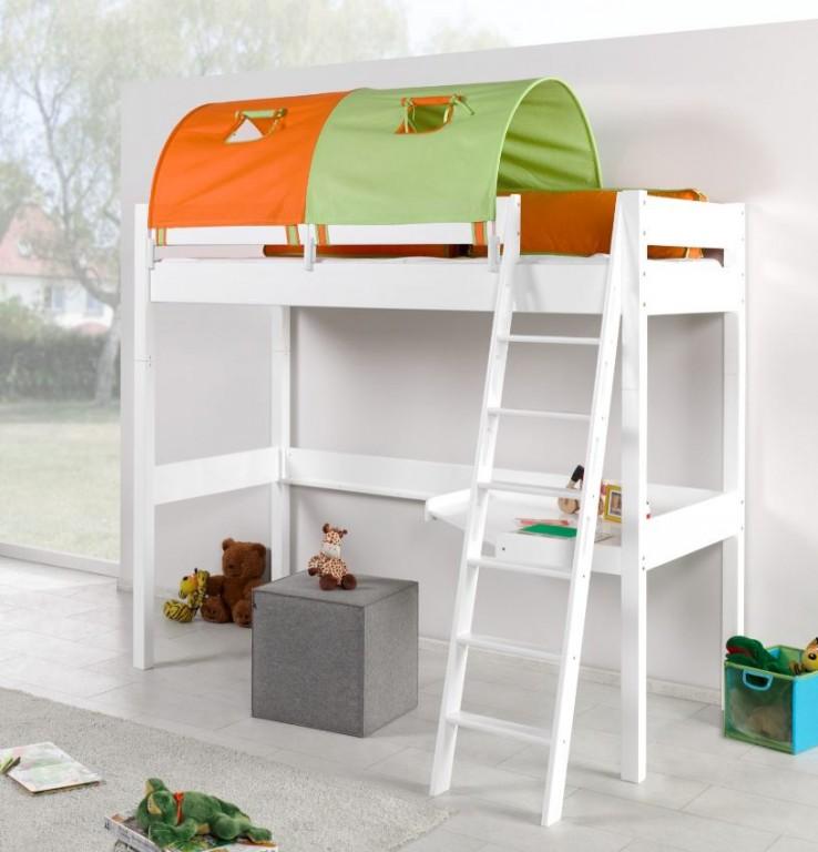 Relita 'RENATE' Multifunktionsbett mit Schreibtisch weiß Stoffset Grün/Orange mit Matratze Bild 1