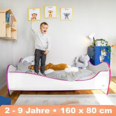 Alcube 'Swinging Pink Edge' Kinderbett 160 x 80 cm mit Rausfallschutz inkl. Lattenrost und Matratze, weiß Bild 1