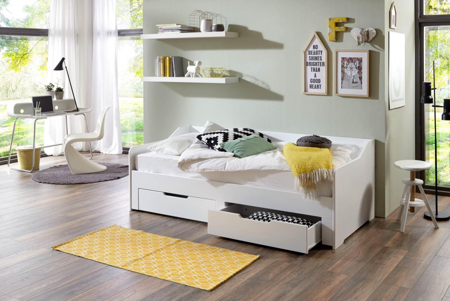 Relita 'Anna' Einzelbett weiß, 90x 200 cm, Liegefläche ausziehbar auf 180 x 200 cm inkl. 2 Schubladen Bild 1
