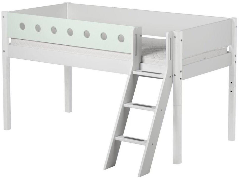 Flexa 'White' Halbhochbett weiß/mint, schräge Leiter, 90x190cm Bild 1