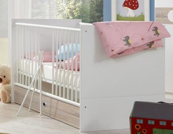 Babybett KIMBA Kinderbett Babyzimmer Kinderzimmer inkl. Bettschubkasten in Alpinweiss / Eiche Sägerau Nachbildung Bild 1