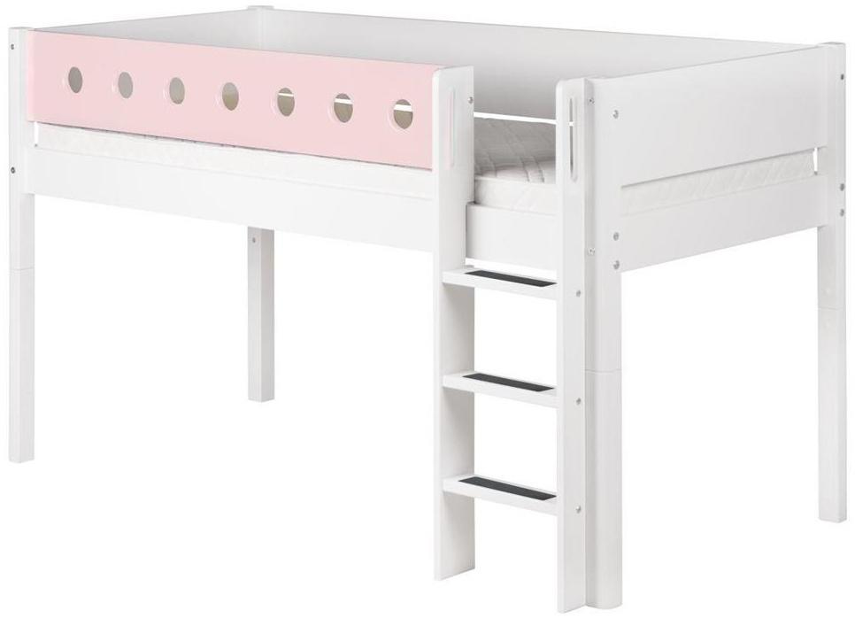Flexa 'White' Halbhochbett weiß/rosa, gerade Leiter, 90x190cm Bild 1