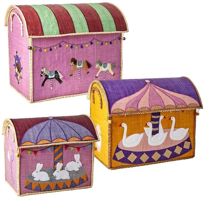 Rice Spielzeugkorb-Set Karussell rosa gelb lila Bild 1