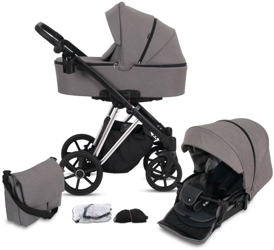 Knorr Baby Kombikinderwagen 2in1 'LUZON' Silver Edition 2020 in Taupe, inkl. Babywanne, Sportsitz, Wickeltasche, Regenschutz Bild 1