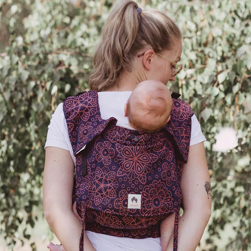 LIMAS Flex Babytrage Fullbuckle | 56 – 104 cm | Bauchtrage & Rückentrage & Onbuhimo | ab 2. -3. Monate bis 3+ Jahre | Baby Carrier | Mandala Cinnamon Bild 1