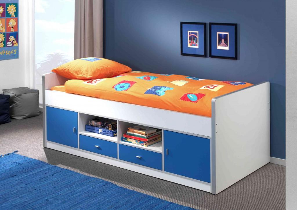 Bonny Kojenbett Jugendbett Bettgestell Kinderbett Bett 90 x 200 cm Weiß / Blau, inkl. Matratze Basic und Lattenrost 26 Leisten Bild 1