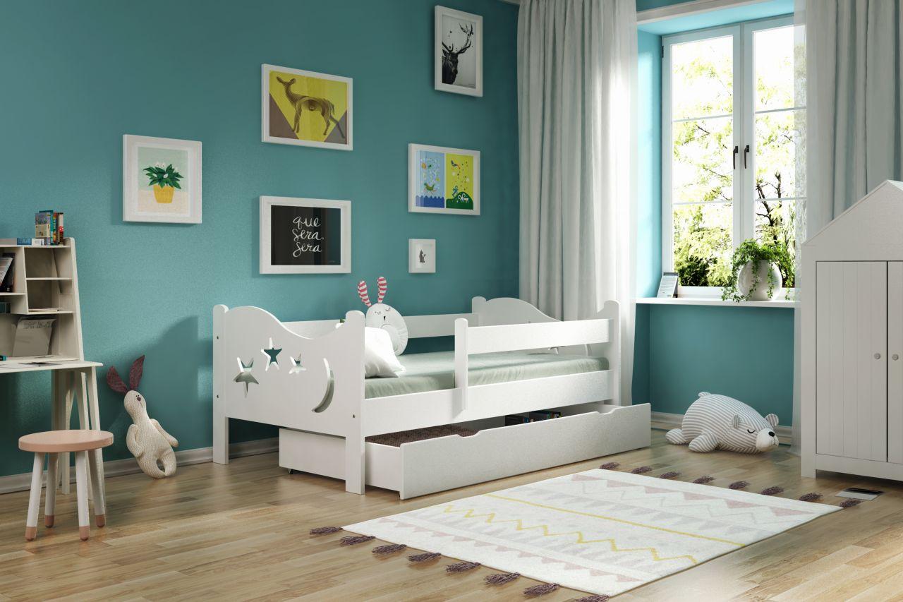 Kinderbettenwelt 'Chrisi' Kinderbett 70x140 cm, Weiß, Kiefer massiv, inkl. Schublade, Lattenrost und Matratze Bild 1