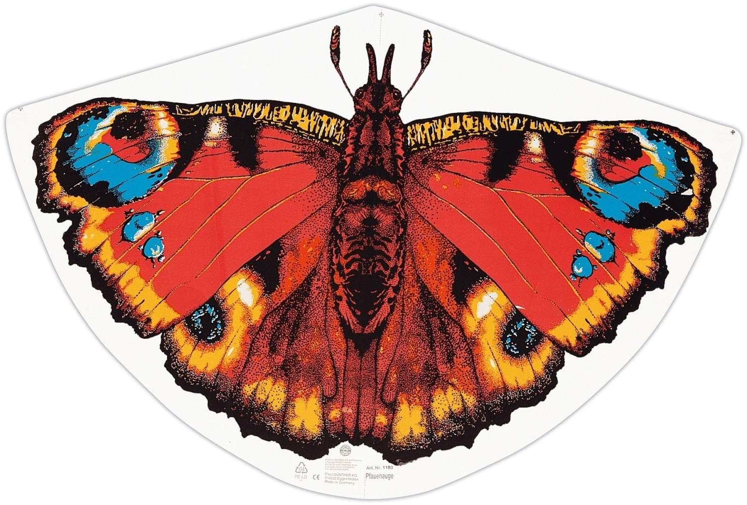 Paul Günther 1103 - Kinderdrachen mit Schmetterling Motiv, Einleinerdrachen aus robuster PE-Folie mit verstellbarer Drachenwaage, für Kinder ab 4 Jahre mit Wickelgriff und Schnur, ca. 92 x 62 cm groß Bild 1