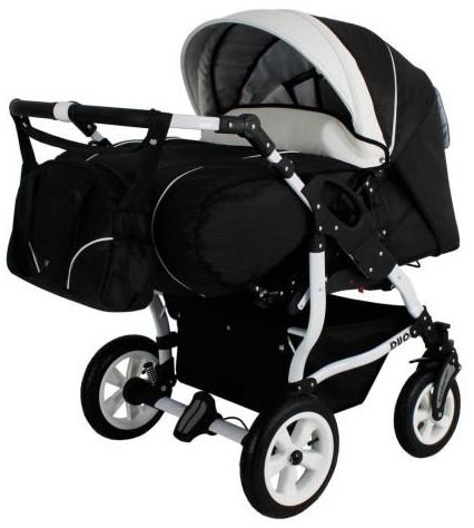 Adbor Duo Spezial 3in1 Zwillingskinderwagen mit Babyschalen und 2 Isofix Stationen, Zwillingswagen, Zwillingsbuggy Farbe D-5 schwarz/weiss Bild 1