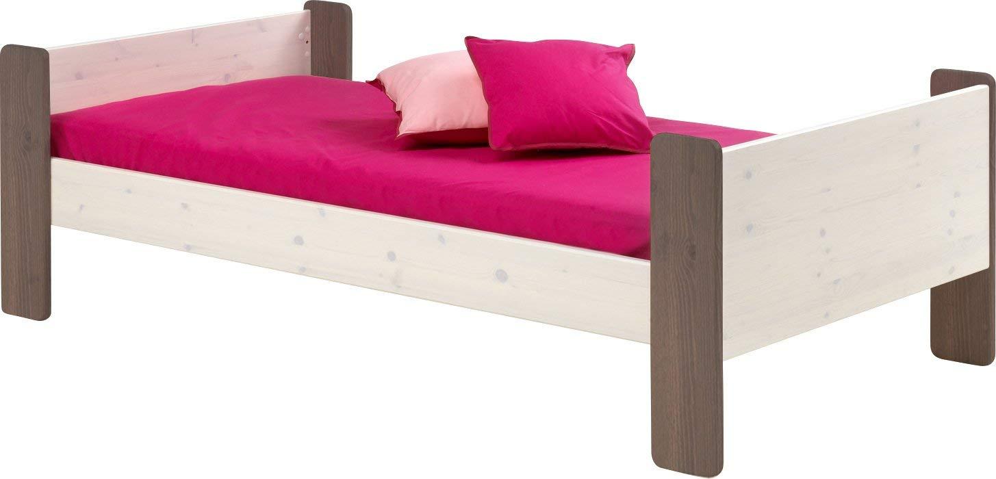 Steens For Kids Kinderbett, Einzelbett, Liegefläche 90 x 200 cm, Kiefer massiv, weiß,grau Bild 1