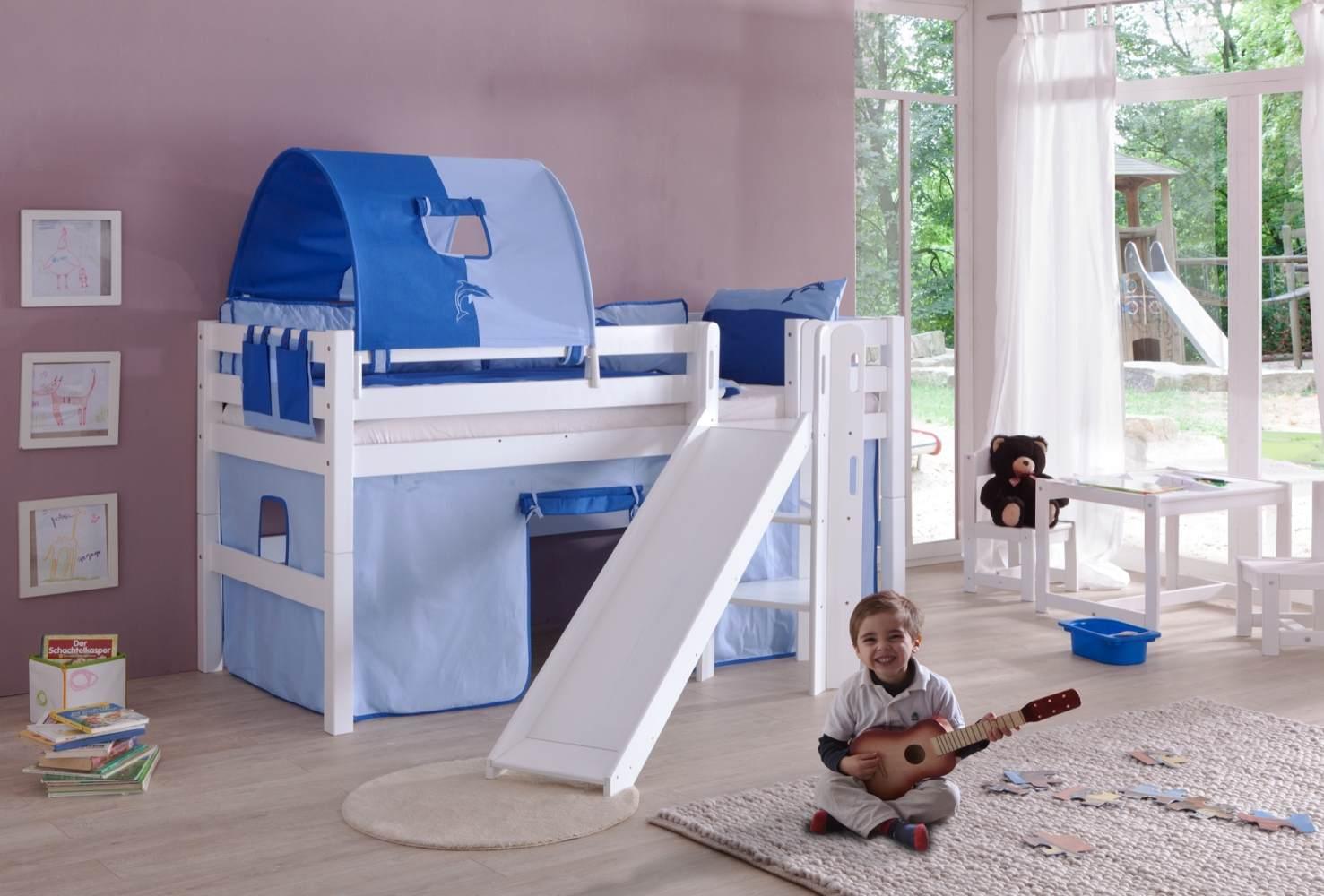 Spielbett Eliyas mit Rutsche und Textilset Vorhang, 1-er Tunnel und Tasche Bild 1