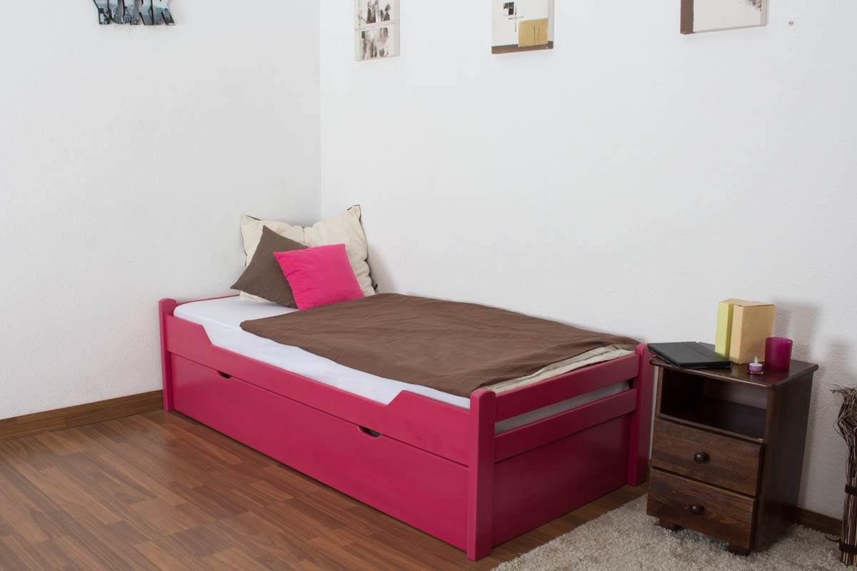 Kinderbett/Jugendbett'Easy Premium Line' K1/1h inkl. 2. Liegeplatz und 2 Abdeckblenden, 90 x 200 cm Buche Vollholz massiv Rosa Bild 1