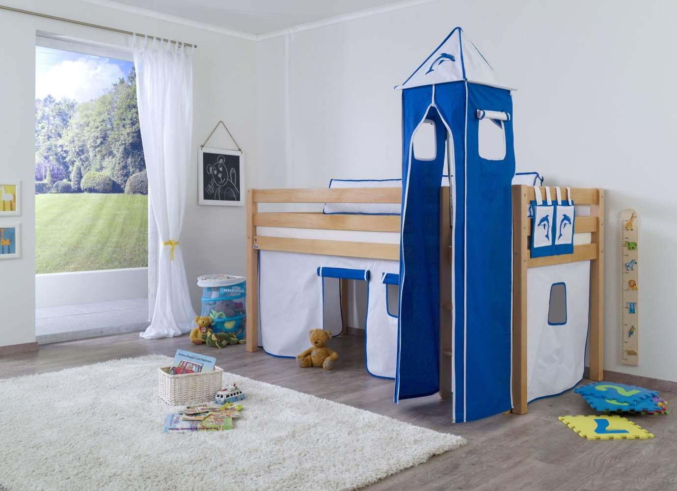 Relita Halbhochbett Spielbett ALEX-13 Buche massiv natur lackiert mit Stoffset Vorhang, Turm, Tasche Bild 1
