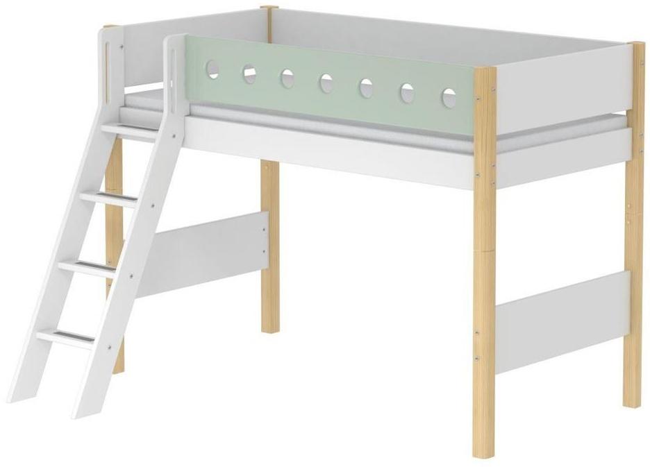 Flexa 'White' Halbhochbett weiß/natur/mint, schräge Leiter, 90x190 cm Bild 1